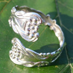 Boho Ring Floral Ring Size 6.5 Silverware Jewelry Silver Spoon Ring Vintage Spoon Ring Spoon Ring Gifts for Her